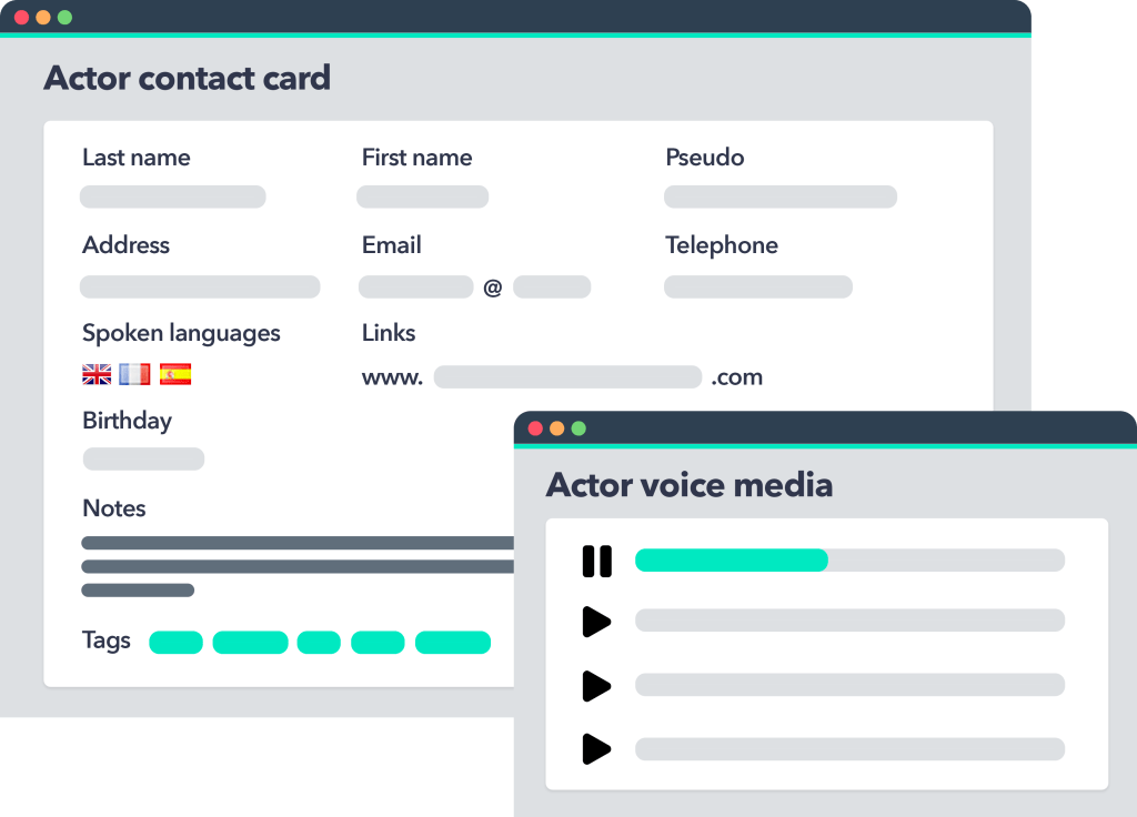 Mediartis voice actor CRM and media library